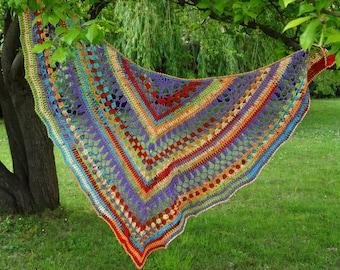 Purple rainbow shawl