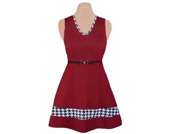 Crimson + Houndstooth Skater Dress