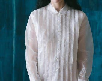 Pleated Organza Blouse / Vintage Organza Blouse / Vintage Organza Shirt
