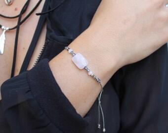 Pink bracelet cord Quartz Lucie
