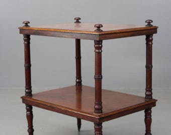 Antique Victorian Two Tier Shelves Side Table Whatnot