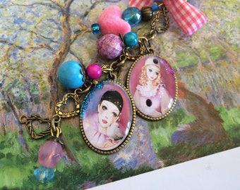 e Pierrot and Columbine pendants romantic bag charm