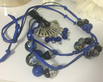bright blue sautoir necklace