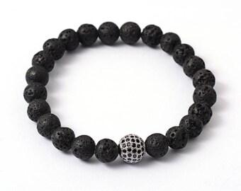 Natural Lava Stone Diffuser Bracelet - Cubic Zirconia