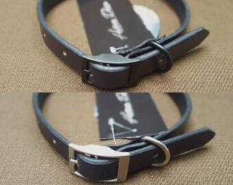 Black Handmade Leather Dog Collar