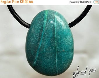 SALE Chrysocolla on leather strap / cotton cord (necklace)
