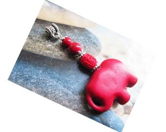 "Pendant ""Protection and abundance"" - Elephant Howlite beads red cinnabar and howlite on silver metal"