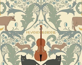 Hey Diddle Diddle Pattern by Charles Voysey Home Decor Wall Decor Giclee Art Print Poster A4 A3 A2 Large Print FLAT RATE SHIPPING