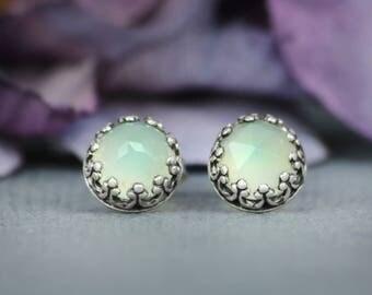 Rose Cut Aqua Chalcedony Filigree Gem Stud Earrings in Sterling - Silver Aqua Chalcedony Bezel Set Post Earrings - Aqua Stud Earrings
