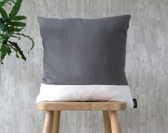 Mid Grey & White Cushion Stripe Linen Cotton Mix (Iron)