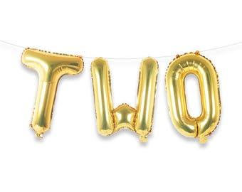 """TWO 16"""" Gold Foil Letter Balloon Banner Kit"""