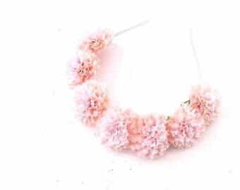 Light Pink Pom Pom Flower Headband Festival Headpiece Hair Crown Garland 3293