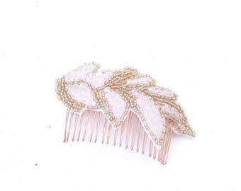 Rose Gold Blush Pink Beaded Hair Comb Bridal 1920s Flapper Headpiece Clip 3750