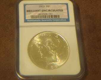 NGC Graded BU 1923 P Peace Silver Dollar
