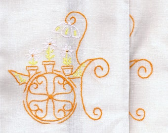 Vintage Set of 2 Hand Embroidered Tea Towels