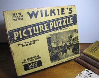 Vintage Wilkie's Jig-Saw Puzzle - No. 125 an Old Fashioned Winter - Interlocking Pieces