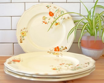 Alfred Meakin Hand Painted Marigold Plates (set of 4)