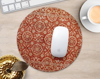 Art Mouse Pad Antique Red Rug Mouse Mat Persian Carpet MousePad Desk Accessories Mouse Pad Round Mouse Mat Persian Rug Mouse Pad Office Gift