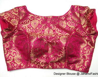 Sleeveless readymade Boat neck blouse with pure brocade, Kimkhab fabric - embellished Sari blouse, All Sizes, Sari Blouse red magenta golden
