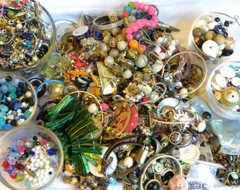 Destash jewelry lot, bead lot, findings lot, 8lb junk jewelry lot, harvest lot, parts and pieces lot, jewelry making lot, vintage to now
