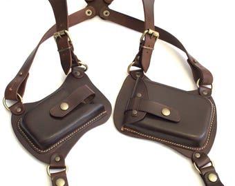 Leather Double shoulder Holster Handmade