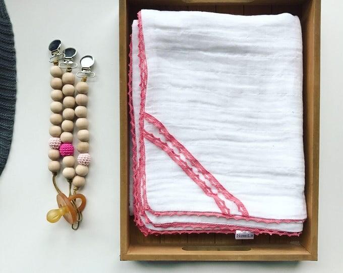 NomiLu Pink Lace Swaddle Blanket -- Cotton Muslin Gauze Swaddle Blanket -- Swaddle Blanket