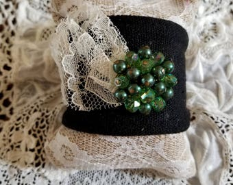 Vintage Green Bead & Vintage Lace Cuff Bracelet, Re-Purposed Vintage Piece, Black Cloth Cuff, One of a Kind, Up-Cycled, MarjorieMae