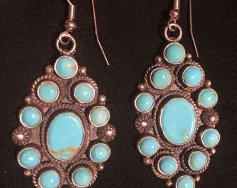 Navajo Native American Turquoise and Sterling silver Cluster Dangle Earrings