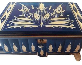 Gift huge puzzle box jewelry box,magic box new blue big wooden beautiful mystery box,secret tricky trinket box,secret compartment,gift