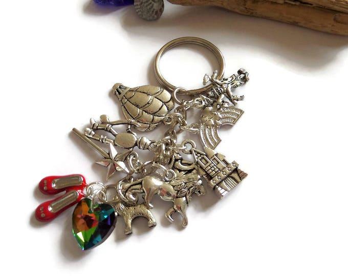 wizard oz keyring, dorothy keyring, wizard gift, rainbow keyring, lion gift, scarecrow, toto, tinman gift, dorothy gift, over rainbow gift