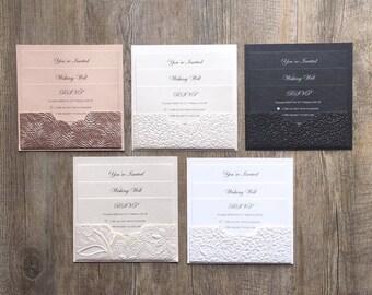 SAMPLE Embossed Pebble / Floral Pocket Wedding Invitation {Eternity}