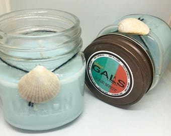 Ocean Breeze 8oz Mason Jar Soy Wax Organic Candle