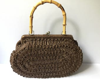 WOVEN MARCHIONESS PURSE Vintage Brown Handbag with Bamboo Handle