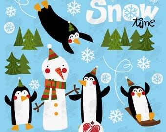 Penguin Clip art... Snowman clip art, instant download
