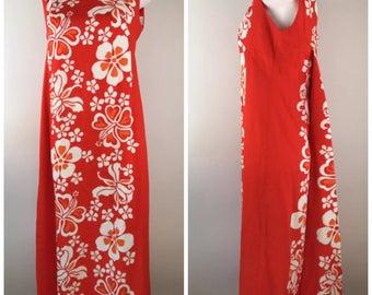 Vintage Sears Hawaiian Barkcloth Dress Flower Orange Maxi 14 Pleated Back Train Ruffle 1960s