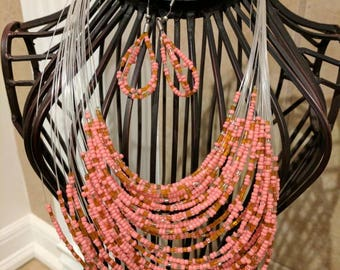 Layered Coral Bead Necklace and Earrings