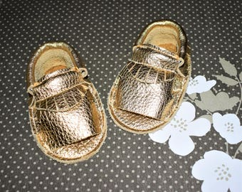 Gold Sandal Moccasins, Gold Sandal shoes, Girl's Sandal shoes, Leather Baby Sandal, Baby Gift