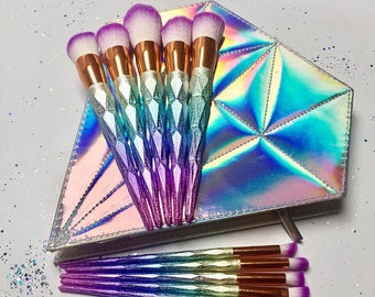 10 Piece Colourful Unicorn Makeup Brush Set/ Brushes with Iridescent Diamond Bag - Birthday Gift - Girlfriend - Gifts for her -Magical -Love