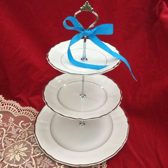 Il_570xn  sc 1 st  Catch My Party & WEDDING CAKE STAND Silver Plate 3 Tier Serving Tray Bridal ...