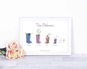 Personalised Family Wellies Print