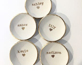 Bridesmaid Gift, Bridesmaid set of 5, Dish Set, Custom Name, Ring Holder, Personalized Dish, Jewlery Holder