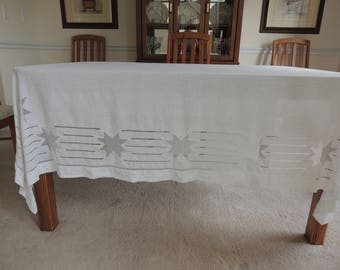 Vintage White Linen Cutwork Tablecloth Beautiful Star Cutwork- French Country- Cottage Farmhouse