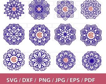 70 % OFF, Mandala Monogram svg, Circle Monogram Frame svg, Flower Frame svg, Flower Mandala svg, dxf, ai, eps, png, Mandala Vector