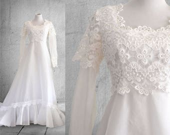 1960s Bohemian Wedding Dress Crochet Lace and Organza