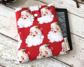 Santa Kindle Sleeve, Padded eReader Case, Travel Voyage, Fire HD, Oasis, Paperwhite Sleeve. Christmas Tablet Cover, Festive eBook Pouch