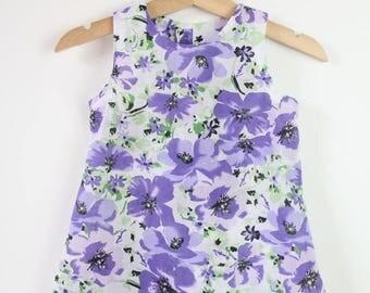 A-line Shift Dress in Purple Floral