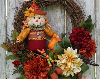 Fall Grapevine Wreath, Scarecrow Wreath, Fall Rustic Wreath, Fall Country Wreath, Fall Decoration