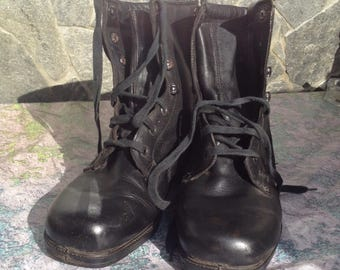 Leather Unisex boots, Combat boots, Military mens boots, Military shoes, Black leather shoes, Vintage boots, Black leather boots.