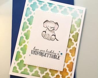 Happy Birthday Card, Elephant birthday card, Whimsical card, Toddler birthday, 1st birthday, Kids Birthday Card, sweet elephant card