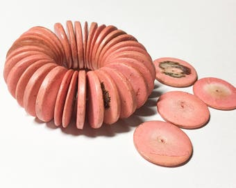 20mm Coconut Wood Discs, Coco Rondelle, Coco Disc Coral, Coconut Shell, Natural Wood Beads-30pc